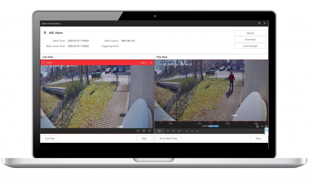 Zobrazenie videa pred poplachom a živého prenosu z objektu