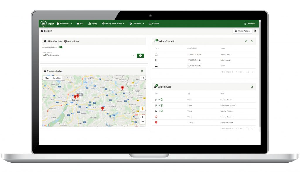 Prehľad o stave aplikácie 1Box výjazd